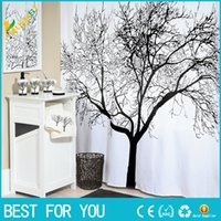 Wholesale New Big Black Scenery Tree Design Bathroom Waterproof Fabric Shower Curtain