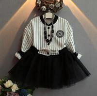american baseball kid - 2016 Autumn Girls Dress Striped Long Sleeve Baseball Jacket Lace Tulle Patchwork Princess Dress Kids Casual Dresses Children Clothing