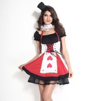 Uniforme rouge pour femmes Prix-Gros-Trois Pièces Set Costumes Uniforme Halloween Sexy Cosplay Femmes Red Hearts Poker Halloween Costume Princesse Fancy Dress G00267