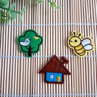 bee patch - 60Pcs Beautiful embroidered cloth patch Lovely bee tree house appliques Iron sewing decoration patches clothing fabric accessories