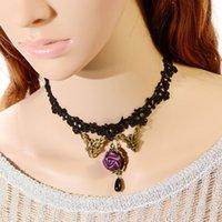 al por mayor mercancías al por mayor coreano-Collar pendiente de Rose púrpura original de la joyería al por mayor nuevo cordón coreano 3197 bienes de puesto dama
