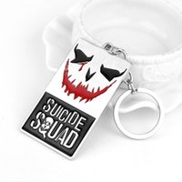 Wholesale 2016 Suicide Squad Key Chain DC Marvel The Joker Keychain Puddin Freaky Task Force Letter Keychain Movie Key Holder Souvenir
