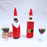 Wholesale 2 Santa Christmas Red Wine Bottle Sets Cover with Christmas Hat and Clothes for Christmas Dinner Decoration Home Halloween Gift Wine Bot