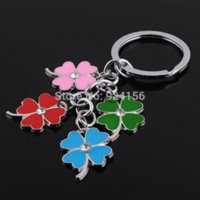 Wholesale 5pcs Fashion colorful lucky clover keychain for women female novelty items cute key ring for lovers souvenir christmas gift