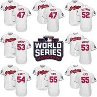 Wholesale 2016 World Series Jersey Cleveland Indians Men s Trevor Bauer Mike Clevinger Roberto Perez Cody Anderson Dan Otero Jerseys