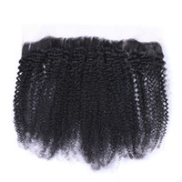 Wholesale Mongolian Kinky Curly Lace Frontal Closure x4 Ear To Ear Bleached Knots With Baby Hair Afro Kinky Curly Lace Frontal Closure