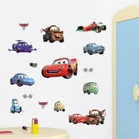 Wholesale DIY movie happy Cars cartoon game kids room decor wall stickers removable child nursery funny decor sticker fans gifts