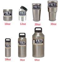 Wholesale YETI with lid oz oz oz oz oz oz oz YETI Cups beer Mug Bottle Colster Rambler Tumbler Stainless Steel