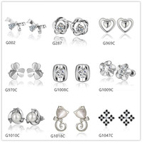 Wholesale Burst models pairs mixed style women s heart pearl flower crystal gemstone k white gold earring GTG43 cheap white gold stud earrings