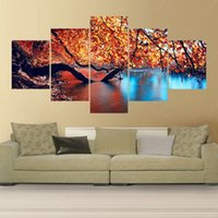 Wholesale 5 Panel Modern Canvas Oil Painting Art No Frame Pintura Maple And River Cuadros Decoracion Wall Pictures For Living Room