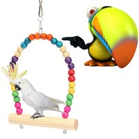 Wholesale Brand New Best Price Colorful Wooden Bird Parrot Swing Stand Cage Hanging Toys For Cockatiel Budgie