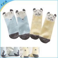 Wholesale 50pair small socks years anti slip fox cat D ears kids socks baby wear cartoon baby socks