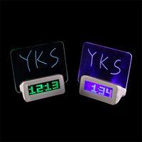 Wholesale 1pc Green Blue LED Fluorescent Message Board Digital Alarm Clock Snooze function Regular alarm clockHub Calendar Night light