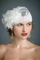achat en gros de garniture de dentelle à la main-2015 Swiss Dot Tulle 3D floral Veil Hat Avec fleurs à la main en dentelle Découper Voiles de mariage Vintage