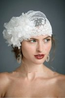 al por mayor velos de novia de puntos-2015 Swiss Dot Tulle sombrero de velo floral 3D con flores hechas a mano de encaje recorte velas de la boda de la vendimia