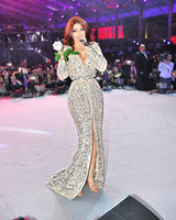 celebrity style dresses - Myriam Fares High Split Evening Gowns Crystal Beaded Arabic Celebrity Dresses With Deep V Neck Long Sleeves Summer Middle East Style