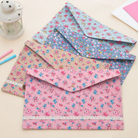 Wholesale 12pcs Floral Flower Lace A4 Size File Folders Vintage Dots Document Bag Stationery Filing School Supplies Storage Bag Office Filing