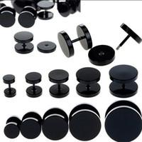 Wholesale 8pcs Black Stainless Steel Fake Cheater Ear Plugs Gauge Body Jewelry Pierceing Earring For Men Hot Sale
