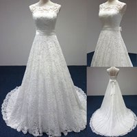 Wholesale 2016 Cheap Ivory A Line Wedding Dress Lace Backless Garden Wedding Dresses Sweep Train Plus Size Ball Gowns Vintage