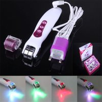 Wholesale Galvanic Vibrating Micro Needle Derma Roller Photon LED Light Skin Massager Care