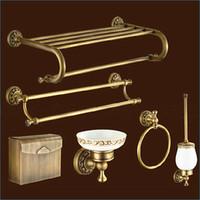 Wholesale Carved Europe style bronze bathroom hardware antique brass bathroom accessories sets J15287