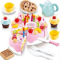 baby food games - 54pcs DIY Cutting Birthday Cake Kitchen Food Toy Pretend Playhouse Game Cookware Cooking Set Children Kids Baby Classic Early Education Toy