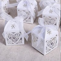 Wholesale 150pcs Love Heart Laser Cut Hollow Carriage Baby Shower Favors Boxes Gifts Candy Boxes Favor Holders With Ribbon Wedding Party Supplies