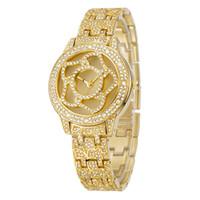 alloy modes - Mme mode casual montre quartz de poignet de montre de luxe batterie de quartz en acier inoxydable étanche Japon mouvement décoration florale