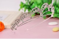 baby comb set - 2016 Pretty Baby Bridal Wedding Crystal Rhinestone Crown Heart Crown Pageant Silver Plated Flower Girls Tiaras Hair Comb Headband tiara