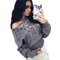 american flat bow - Women Sweaters Lace Up Winter Knitted Casual Loose Belt Tops Sexy Jumpers Pull Femme Hem Pullover Outwear