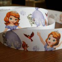 Wholesale DIY Grosgrain Ribbon quot mm Fashion Sofia the first Cartoon Print Hair Clip Headbands Ribbon yds roll Webbing