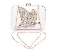 banquet animal print - Popular wedding bridal clutches austria crystal diamond butterfly evening bags PU women banquet handbag valentine gifts