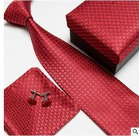 Wholesale whole sale brand new colors neck tie set necktie cufflinks men s ties polyester ascot hankies striped tower Pocket square drop shipping