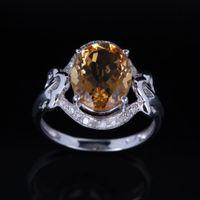 Cheap Oval 12x9mm Citrine 10K White Gold Natural Diamonds Wedding Ring Fine Jewelry