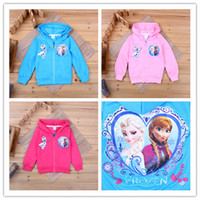 Wholesale 2015 spring and autumn Frozen girl Long Sleeve hoodies children coat clothing children cartoon top kids t shirts baby hoody coat