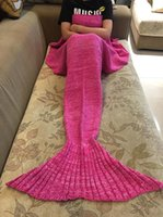 baby blanket cozy - New Baby Kid Teenage Adult Knitted Mermaid Crocodile Cocooon Throw Blanket Air Condition Sofa Cozy Acrylic