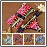 Wholesale Bikini Summer New Women Push up Swimsuit Geometric Print Brazilian Bikinis Halter Swimwear Padded Biquini Bathing Suit