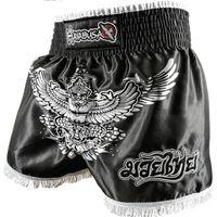 Wholesale New golden wings bird embroidery muay Thai shorts Falcon professional sanda fighting shorts Muay Thai MMA black shorts