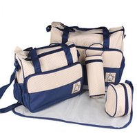 Wholesale 5PCS Set High Quality Tote Baby Shoulder Diaper Bags Durable Nappy Bag Mummy Mother Baby Bag