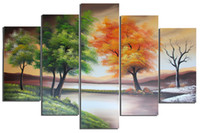 Wholesale 5 Pieces Canvas Wall Art Hand Paint Seasons Tree Painting with Wood Frame Life Tree Oil Paint Modern Art Decor