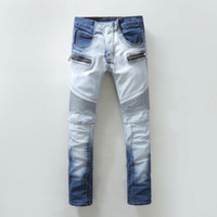 Wholesale 2016 Newest Collection Balmain Ripped Bleached Biker Jeans Straight Stonewashed Blue