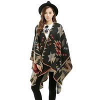 Wholesale Women s Winter Designer Fashion priting Pashmina Cashmere Shawl Wraps Blanket Scarf Stole Poncho Capes Cloak Cardigans