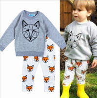 Wholesale Leopard Head Sweater - Autumn boy cotton cartoon fox head gray sweater 2016 fashion girls casual two suits T shirt + Leggings White printed trousers E470