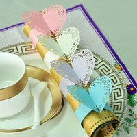 Wholesale 120pcs laser Cut Hollow Love Heart Paper Napkin Rings Wraps for Bridal Shower Wedding Party Favors Birthday Kitchen Table Home Decoration