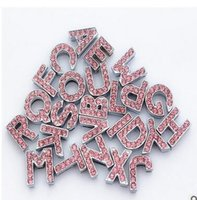 Wholesale luxury sparkling rhinestone crystal alphabet letter slider DIY dog collar white color for cat dog pets party gift