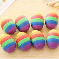 Wholesale New Novelty Colorful Egg Shape Cartoon Rubber Eraser Creative Stationery School Supplies Papelaria Gift Prize for Kids