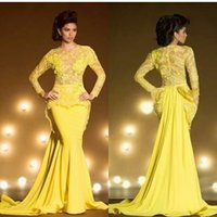 art design shirts - Arabian Design Prom Dresses Yellow Lace Jewel Neckline Appliqued Lace Sheer Back Long Sleeve Peplum Mermaid Evening Formal Party Gowns