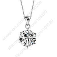 Wholesale ecklace chunky Real Pure Sterling Silver Jewelry Claw MM Cubic Zirconia CZ Pendant Necklaces With Singaprore Chain qu