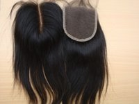 Wholesale Brazilian Straight Human Hair Lace Closure Bleached Knots Middle Part Lace Top Closure With Natural Color Hair