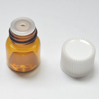 amber stocks - 1 ml Clear Glass Essential Dram Oil Amber Bottle Perfume Sample Tubes Bottle With Plug And Caps in stock